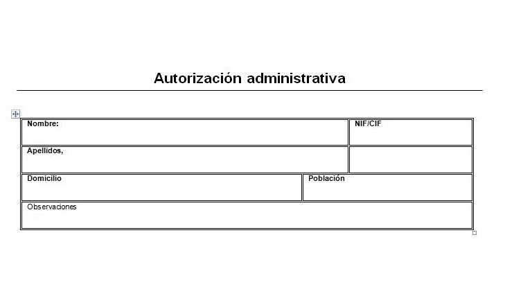 Modelo autorización para trámites