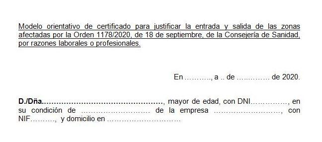 Modelo certificado de desplazamiento covid19 Madrid