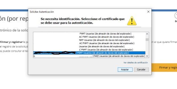 Saleccionar tu certificado digital